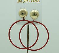 Молодёжные красные серьги кольца. Недорогие летние серьги оптом 3006