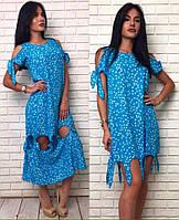 Оригинальное летнее платье трансформер с завязками и регулируемой длиной 2 в 1