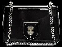 Строгая лаковая женская сумочка коричневого цвета LLW-000752, фото 1