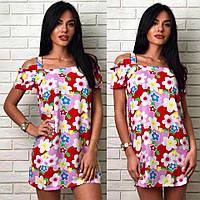 Милое летнее платье в цветочный принт с открытыми плечами