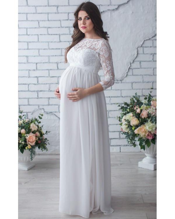 aedcb9825502 Длинное платье для беременных на роспись, айвори купить и заказать ...