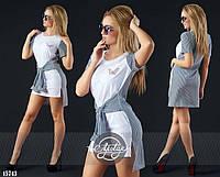 Необычное платье-туника с имитацией рубашки повязаной на поясе