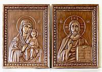 Резные Иконы - Комплект - Пресвятая Богородица и Господь Вседержитель 620х460