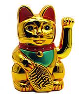 Кот Манэки Нэко машущий лапкой на батарейке золотой
