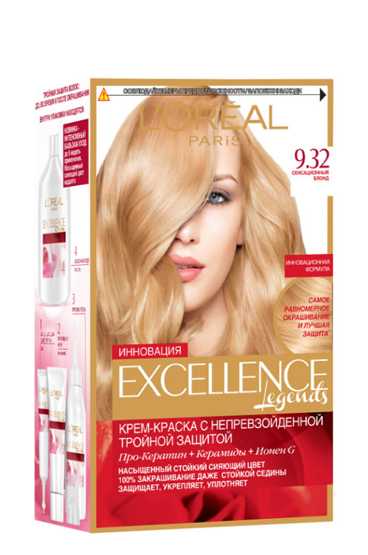 Loreal  EXCELLENCE 9.32  сенсационный блонд  48 мл Код товара 2833