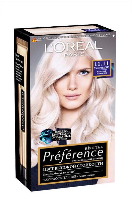 Loreal Recital Preference краска для волос 11.11 ультраблонд холодный пепельный 40 мл Код 22988