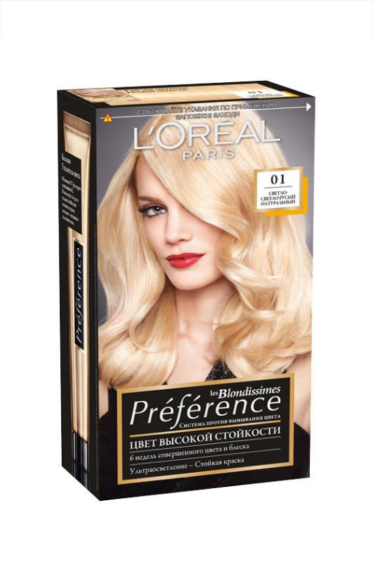Loreal  Recital Preference  краска для волос  01  светлосветло русый натуральный  40 мл Код товара 2691