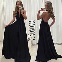 Платье с открытой спинкой из атласа