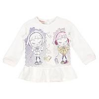 Футболка - туника с длинным  рукавом , с изображением двух девочек в наушниках
