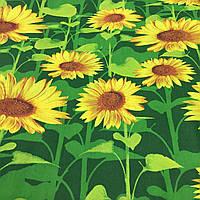 Ткань с крупными подсолнухами на зеленом фоне, ширина 150 см, фото 1