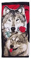Пляжное полотенце Волк с розой (велюр-махра) 70х140.