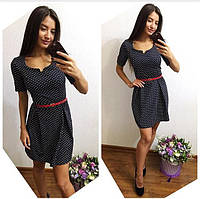 Женское джинсовое платье в горошек 8835