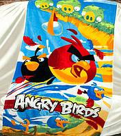 Полотенце пляжное махра-велюр 75х150 Angry Birds