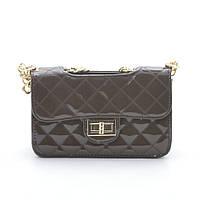 Женская лаковая сумка через плечо 8050-1 coffee