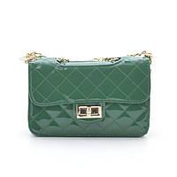 Женская лаковая сумка через плечо 8050-1 green