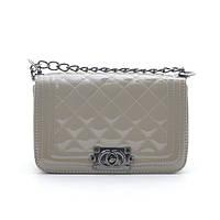 Женская лаковая сумка через плечо 7094-4 grey