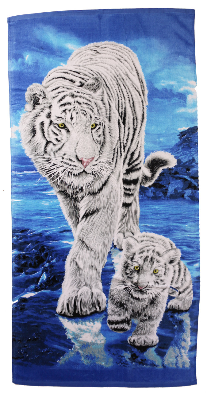 Пляжное полотенце Тигр белый (велюр-махра) 70х140. Код 1574