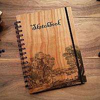 "Деревянный скетчбук ""Вниз по реке"" А5 (бумага 148х210 мм)"