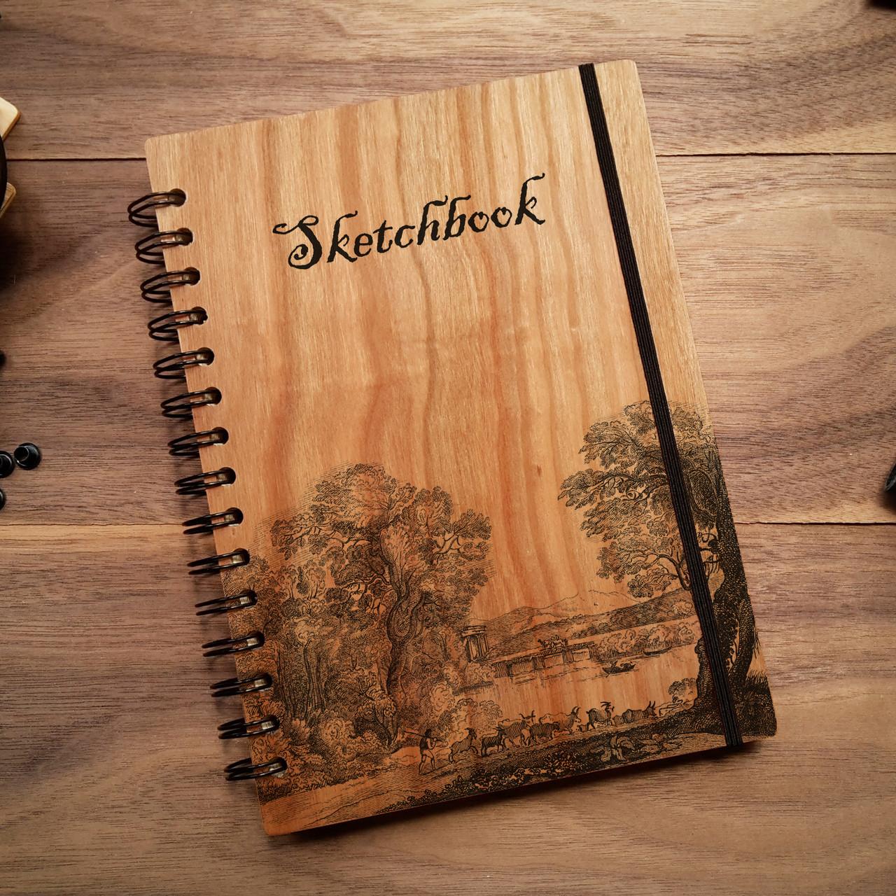 "Деревянный скетчбук ""Вниз по реке"" А5 (бумага 148х210 мм), фото 1"