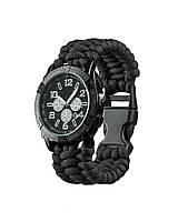 Часы с браслетом из паракорда (Black), фото 1