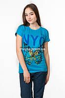Женская футболка с принтом NYC цвет голубой p.46-48 SS45-1