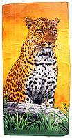 Пляжное полотенце Леопард (велюр-махра) 70х140. Код 1615-1996