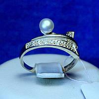 Серебряное кольцо с жемчугом искусственным кс 803