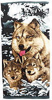 Пляжное полотенце Волки (велюр-махра) 70х140