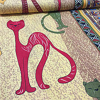 Бязь с египетскими кошками и орнаментом с шириной 150 см, фото 1