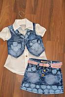 Летний джинсовый костюм тройка для девочек,Размеры 98-116 см.Фирма GRACE.Венгрия