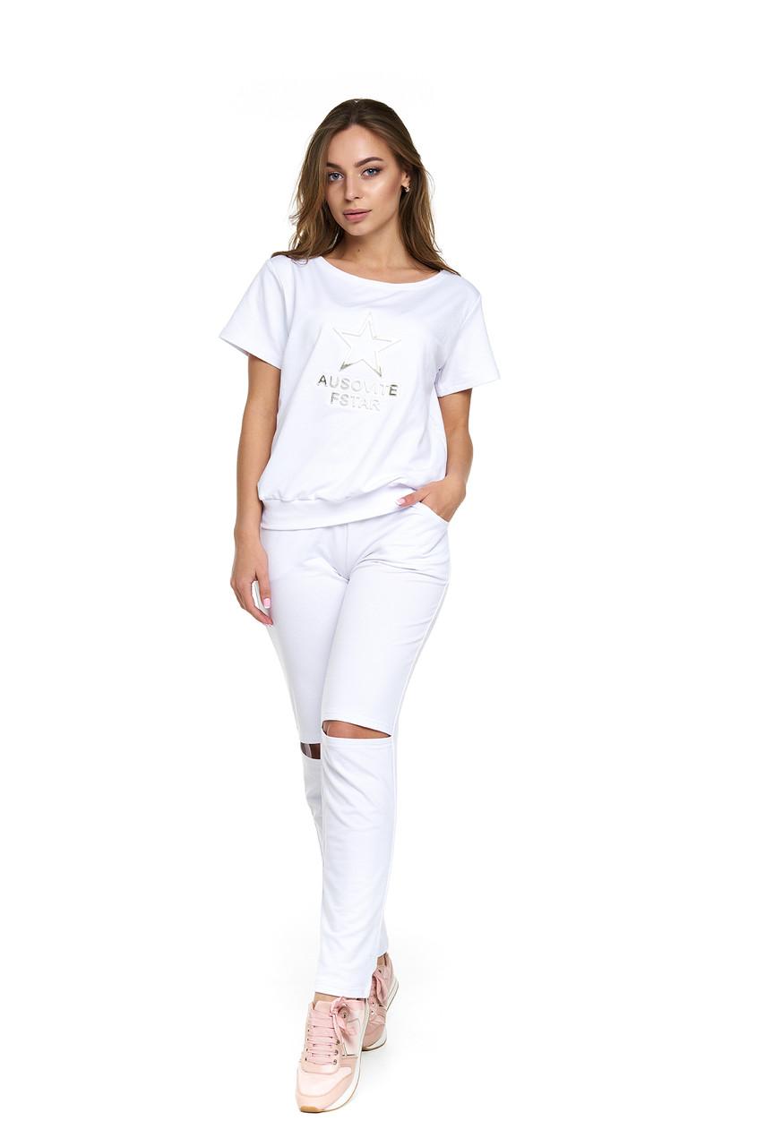 2011867f Белый летний спортивный костюм Бадия - DS Moda - женская одежда оптом от  производителя в Харькове