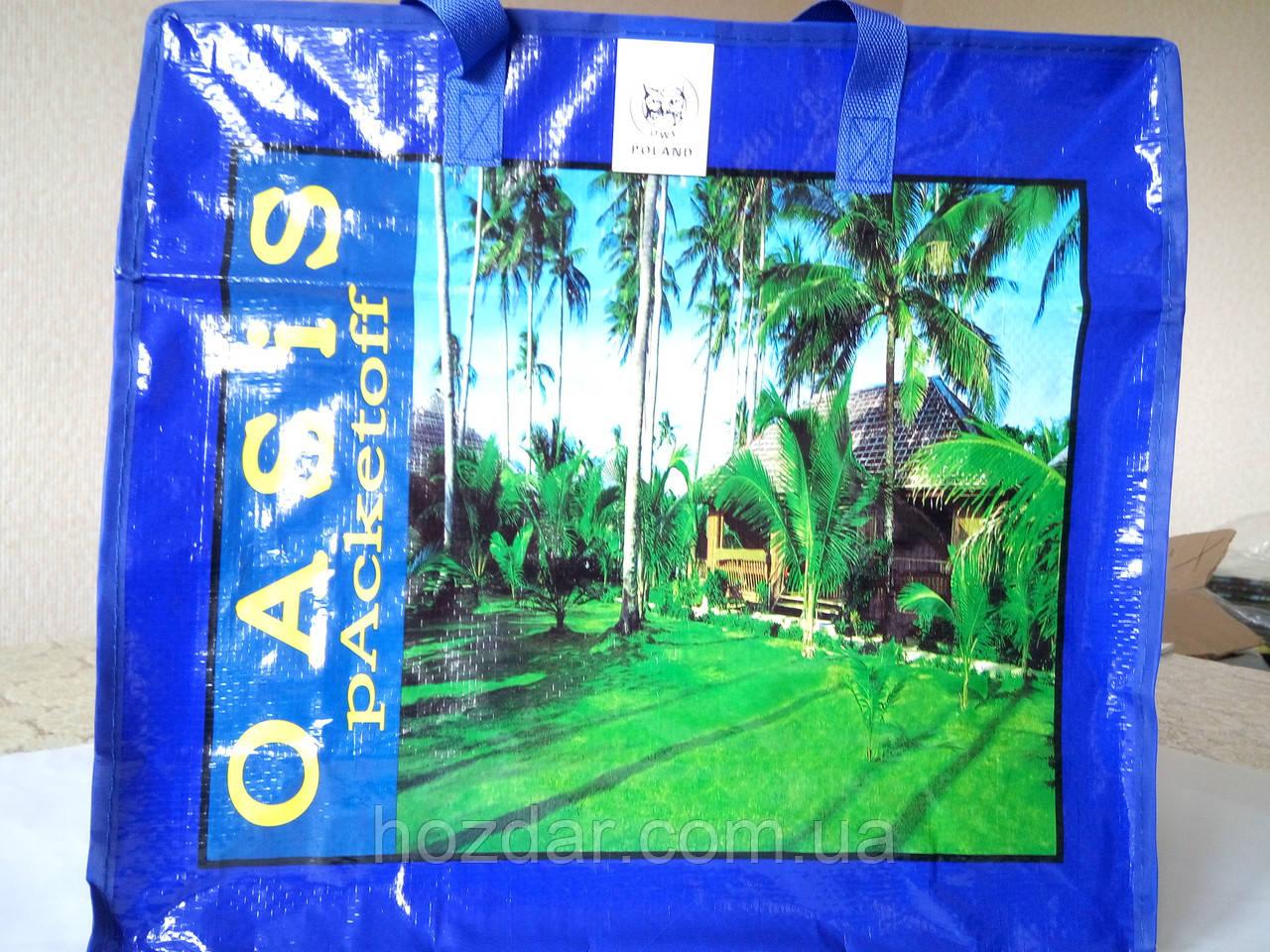 Хозяйственная сумка полипропиленовая горизонтальная №3 (Пальмы)