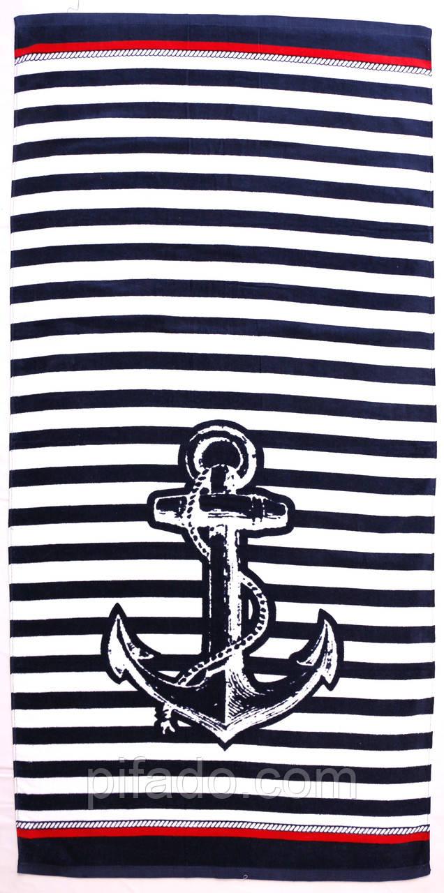 Пляжное полотенце Якорь (велюр-махра) 70х140. Код 2213