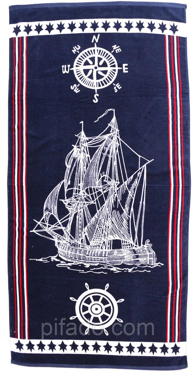 Пляжное полотенце Корабль (велюр-махра) 70х140. Код 1615-2206