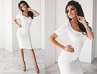 Платье по фигуре с глубоким декольте из фактурного трикотажа 2036 (НИН55)