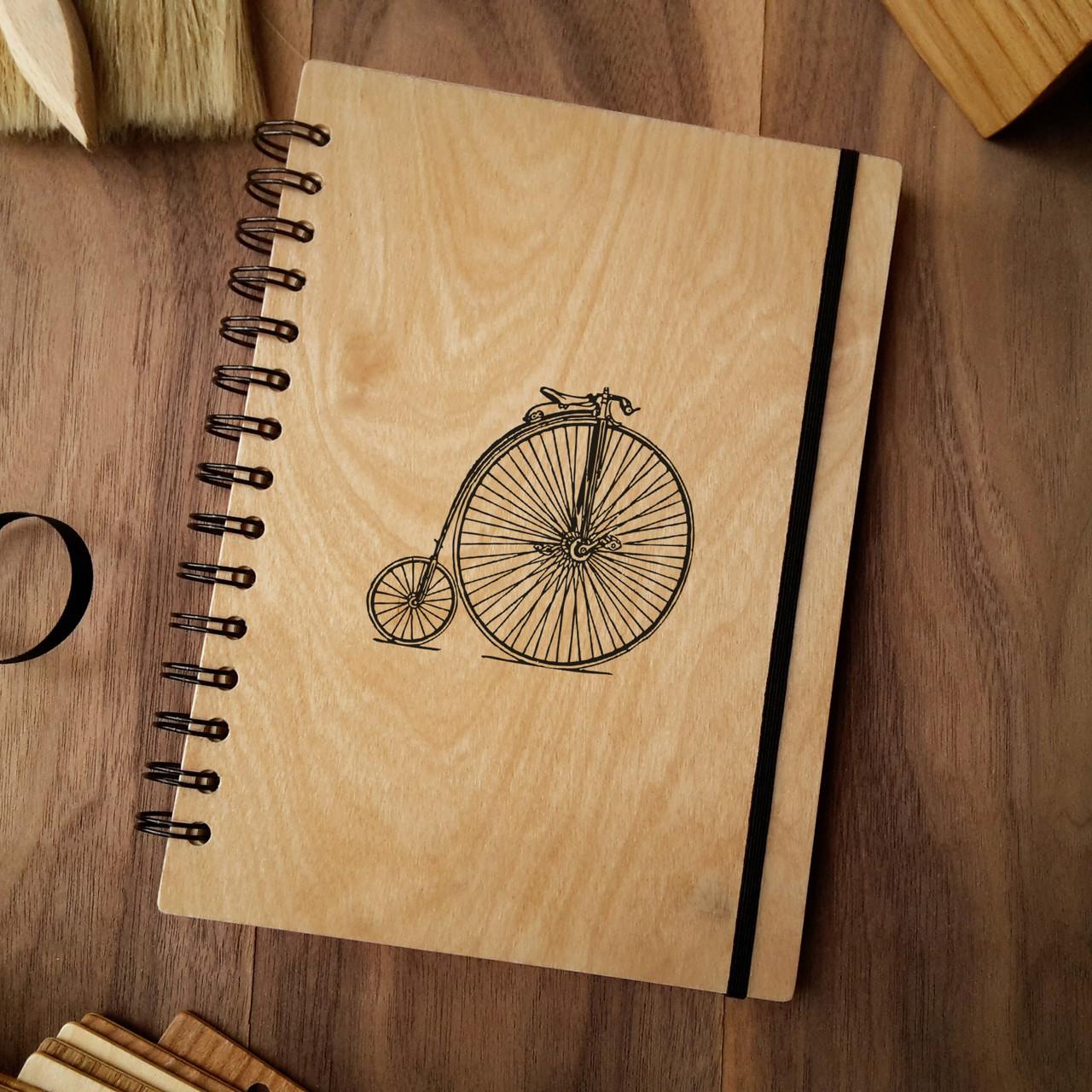 """Деревянный блокнот """"Велосипед"""" А5 (бумага 148х210 мм)"""