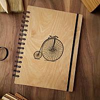 """Деревянный блокнот """"Велосипед"""" А5 (бумага 148х210 мм), фото 1"""