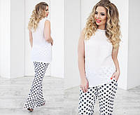 Костюм ассиметричная блуза+брюки в горошек 1072 батал (НИН55)
