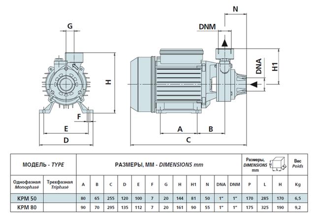 Поверхностный бытовой насос Speroni KPM 50 размеры