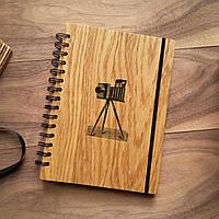 "Деревянный блокнот ""Ретро камера"" А6 (бумага 105х148 мм)"