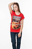 Женская футболка с принтом Ibiza цвет красный p.46-48 SS46-1
