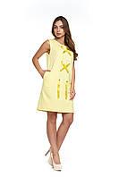 Прямое летнее желтое платье Будони