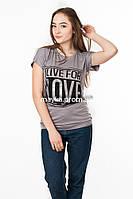 Женская футболка с принтом Love цвет капучино p.46-48 SS47-1