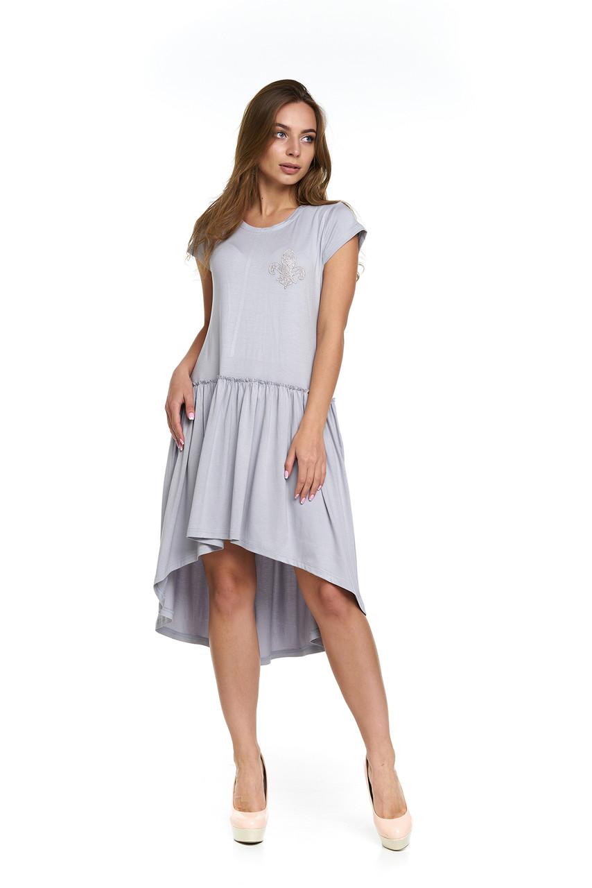 c73fbe6415c Серое модное платье из вискозы Лавания - DS Moda - женская одежда оптом от  производителя в