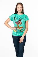 Женская футболка с принтом Бабочки цвет бирюза p.48-50 SS49-1