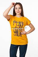 Женская футболка с принтом Play цвет горчица p.48-50 SS50-1