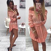 Женское Платье декольте на завязке