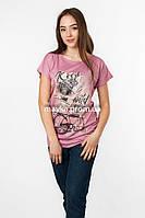 Женская футболка с принтом цвет пудра p.48-50 SS51-1