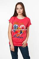 Женская футболка с принтом цвет коралл p.48-50 SS52-1
