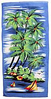 Пляжное полотенце Пальма (велюр-махра) 70х140. Код 1615-207